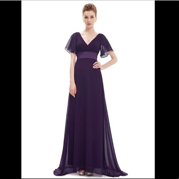 773d74d6a22 Long Empire Waist Evening Dress w  Flutter Sleeves
